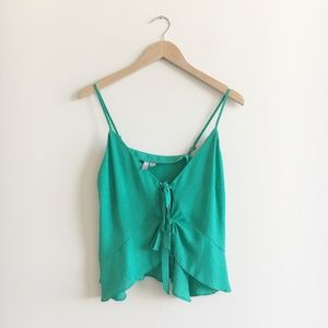 ASOS Green Front Tie Top